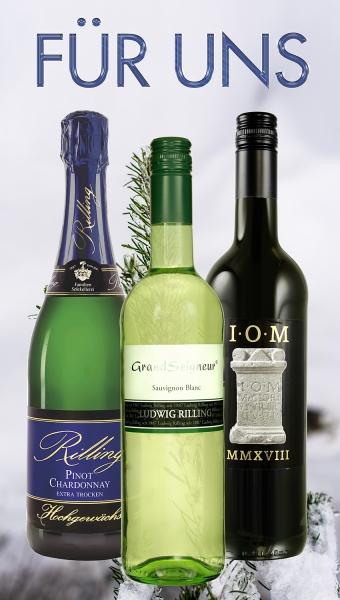 1x Für uns (1 Fl Pinot Chardonnay Sekt, 1 Fl IOM, 1 Fl Sauvignon blanc 0,75 l