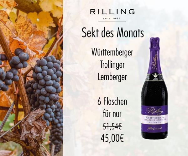 6x Württemberger Trollinger Lemberger Sekt 0,75l