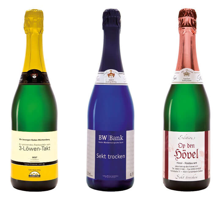 Sekt-Flaschen mit eigenem Etikett: Referenzen